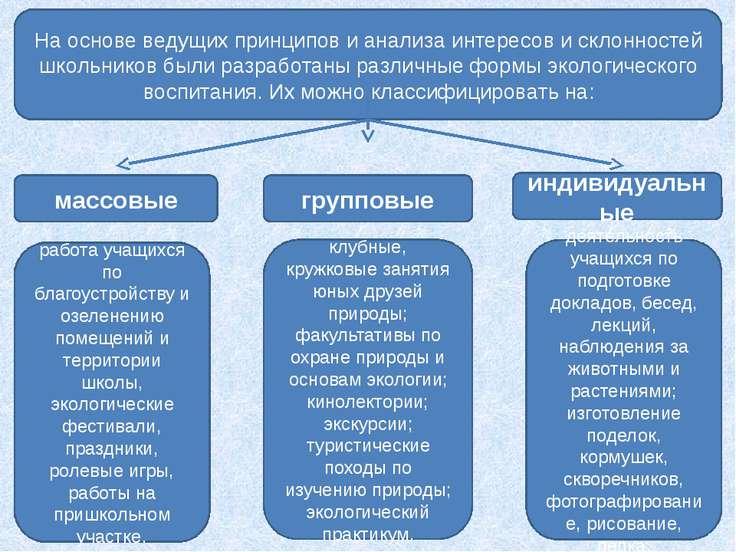 На основе ведущих принципов и анализа интересов и склонностей школьников были...
