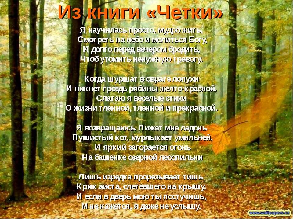 Из книги «Четки» Я научилась просто, мудро жить, Смотреть на небо и молиться ...
