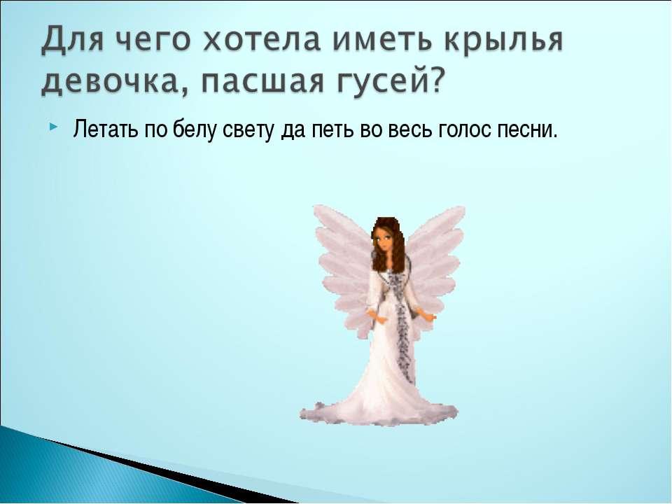 Летать по белу свету да петь во весь голос песни.
