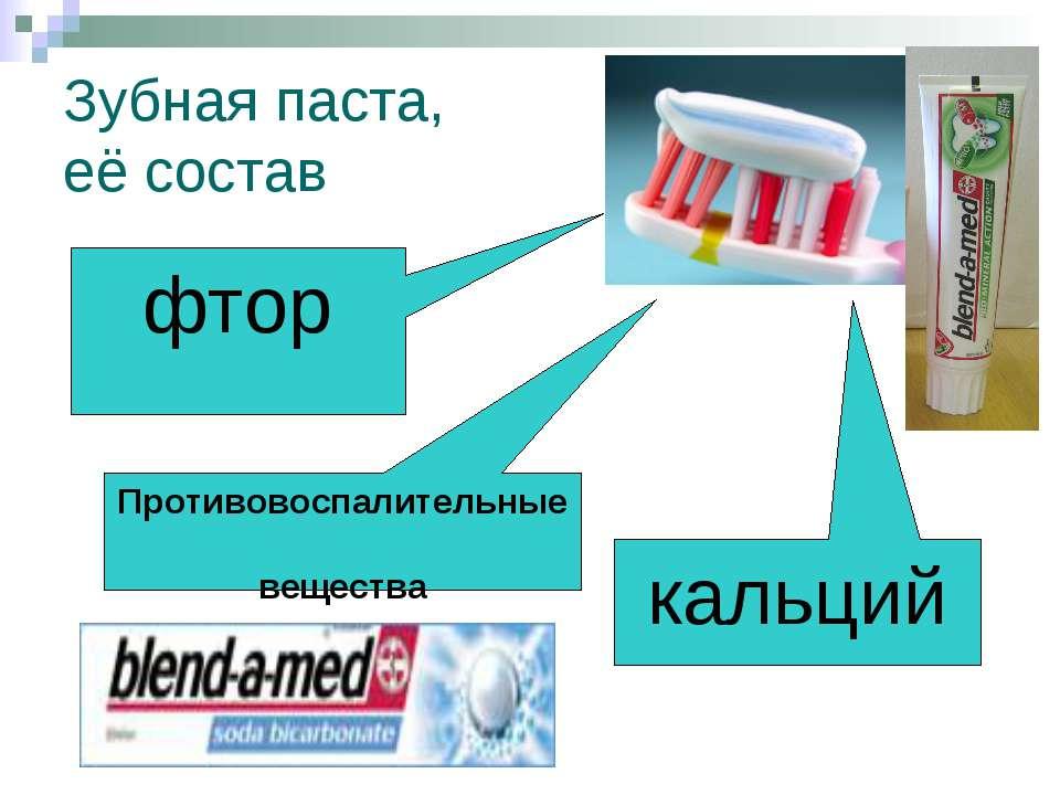 Зубная паста, её состав фтор Противовоспалительные вещества кальций