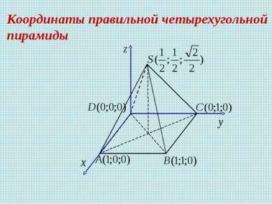 Координаты правильной четырехугольной пирамиды