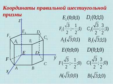 Координаты правильной шестиугольной призмы