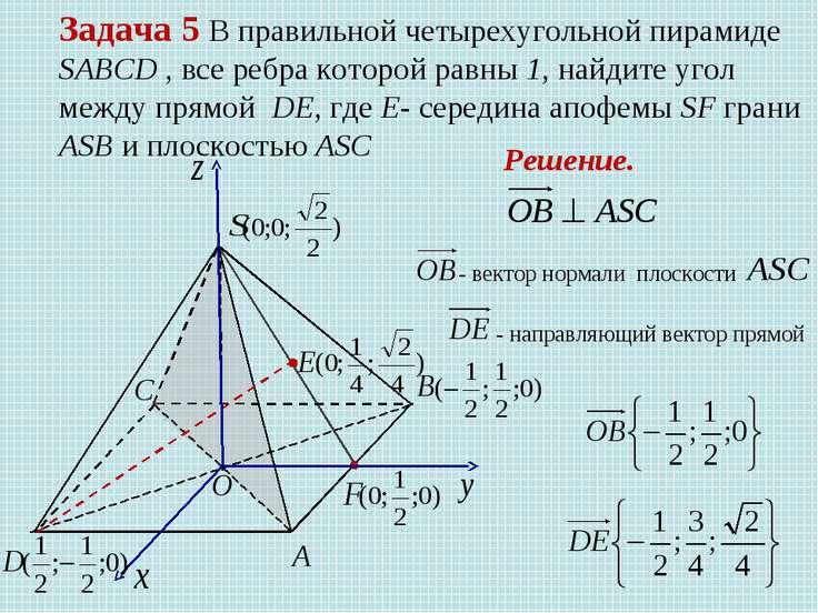 Задача 5 В правильной четырехугольной пирамиде SABCD , все ребра которой равн...
