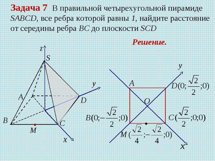 Задача 7 В правильной четырехугольной пирамиде SABCD, все ребра которой равны...