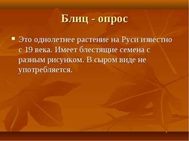 Блиц - опрос Это однолетнее растение на Руси известно с 19 века. Имеет блестя...