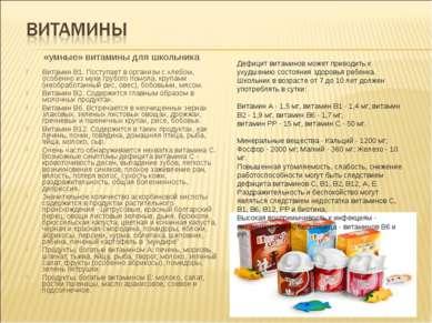 «умные» витамины для школьника Витамин В1. Поступает в организм с хлебом, осо...
