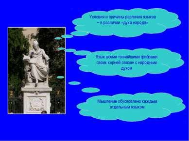 Условия и причины различия языков – в различии «духа народа» Язык всеми тонча...