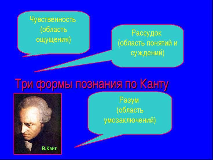 Три формы познания по Канту Разум (область умозаключений) Рассудок (область п...