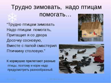 """Трудно зимовать, надо птицам помогать… """"Трудно птицам зимовать Надо птицам по..."""