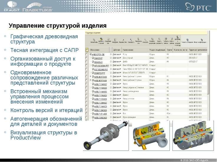 Управление структурой изделия Графическая древовидная структура Тесная интегр...