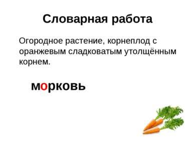 Словарная работа Огородное растение, корнеплод с оранжевым сладковатым утолщё...
