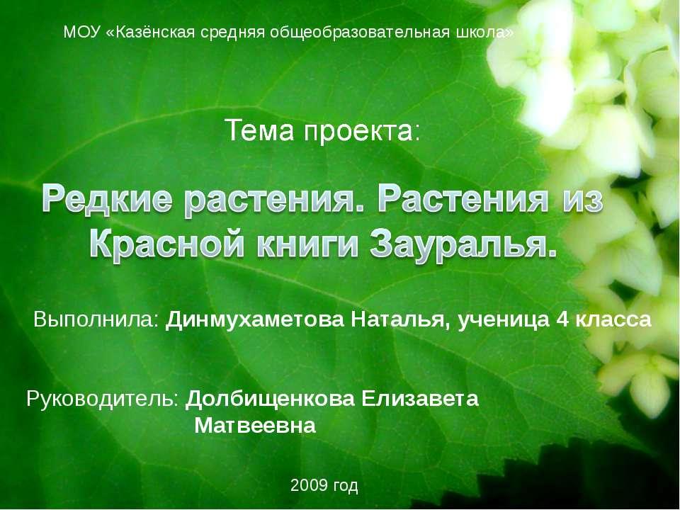 МОУ «Казёнская средняя общеобразовательная школа» Выполнила: Динмухаметова На...
