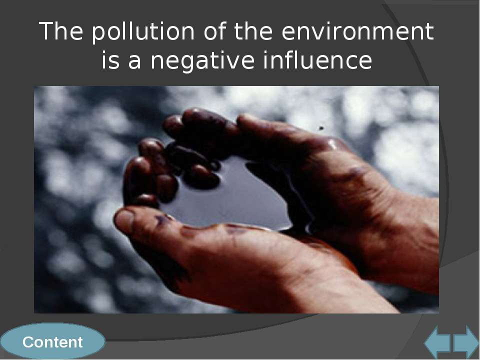 The pollution of the environment is a negative influence Content
