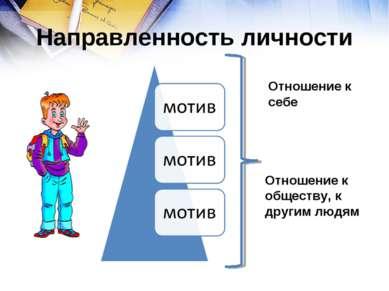 Направленность личности Отношение к себе Отношение к обществу, к другим людям