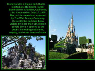 Disneyland is a theme park that is located at 1313 South Harbor Boulevard in ...