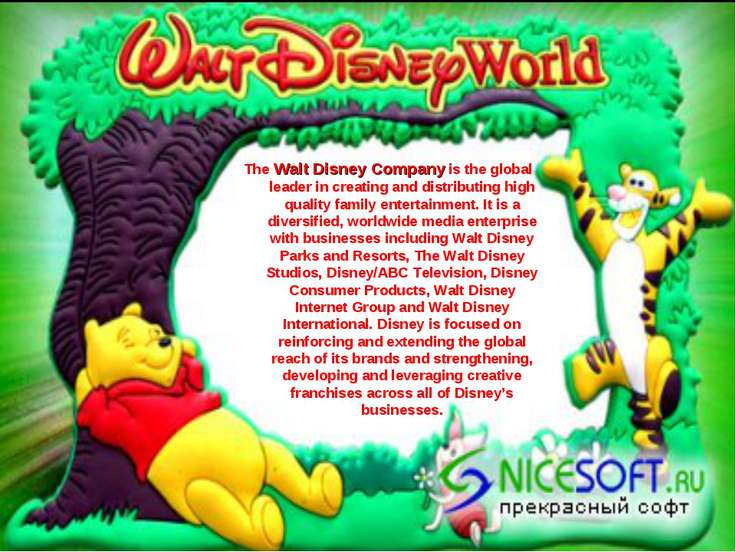 The Walt Disney Company is the global leader in creating and distributing hig...