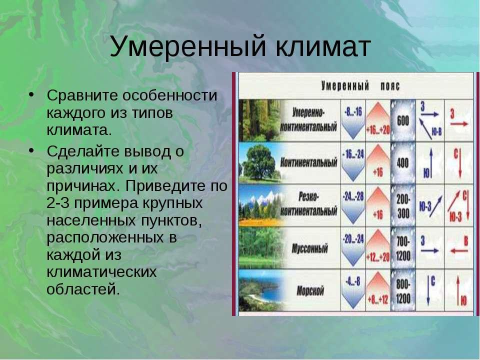 Умеренный климат Сравните особенности каждого из типов климата. Сделайте выво...