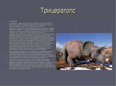 Трицератопс Трицератопс Трицератопс - громадный трехрогий динозавр из группы ...
