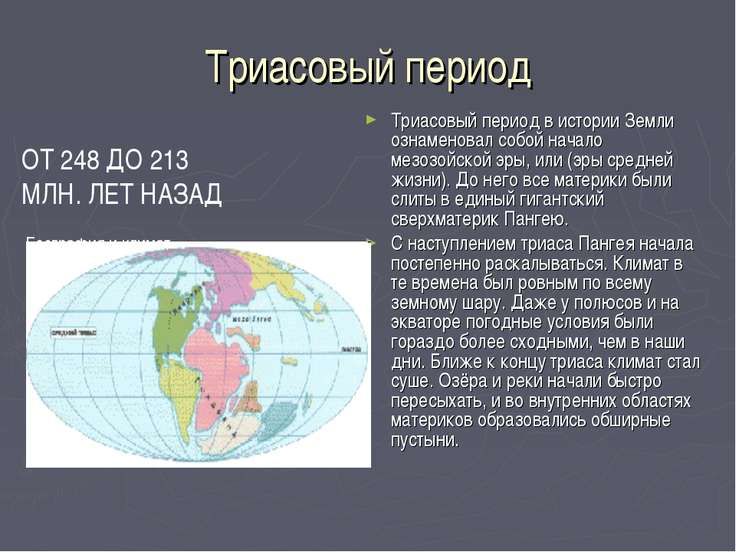 Триасовый период Триасовый период в истории Земли ознаменовал собой начало ме...