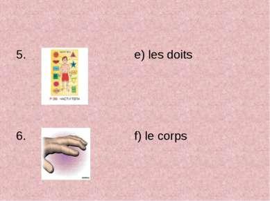 e) les doits f) le corps