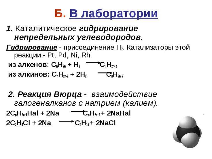 Б. В лаборатории 1. Каталитическое гидрирование непредельных углеводородов. Г...