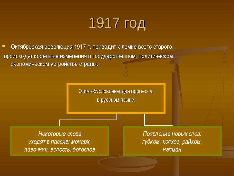 1917 год Октябрьская революция 1917 г. приводит к ломке всего старого, происх...