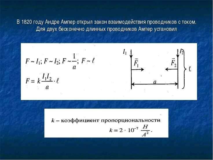 В 1820 году Андре Ампер открыл закон взаимодействия проводников с током. Для ...