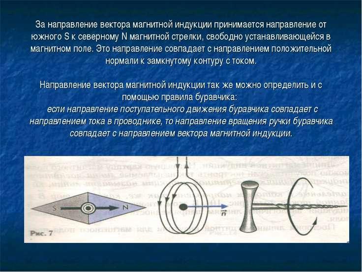 За направление вектора магнитной индукции принимается направление от южного S...