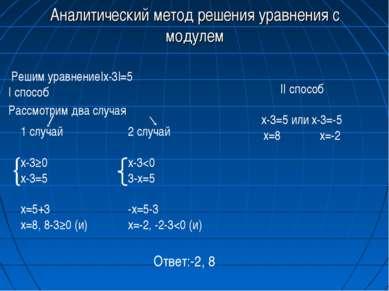 Аналитический метод решения уравнения с модулем Решим уравнение|x-3|=5 I спос...