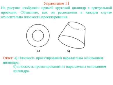 Упражнение 11 На рисунке изображён прямой круговой цилиндр в центральной прое...