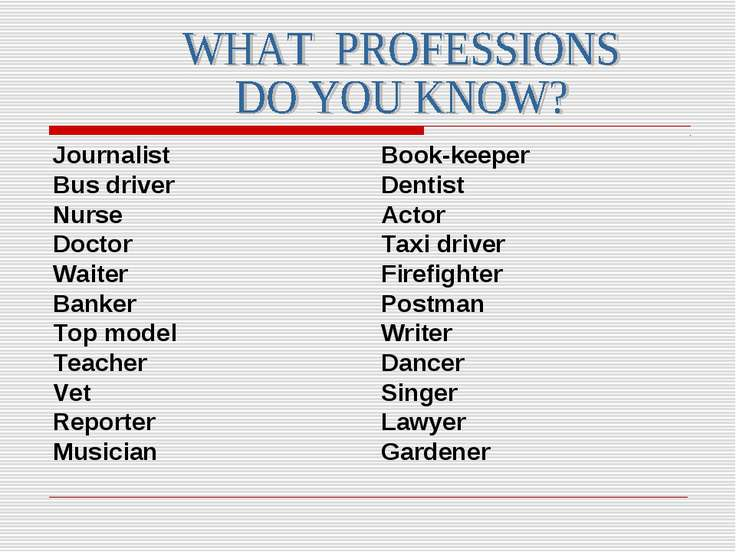 Journalist Bus driver Nurse Doctor Waiter Banker Top model Teacher Vet Report...