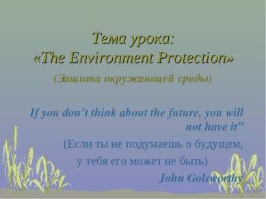 Тема урока: «The Environment Protection» (Защита окружающей среды) If you don...
