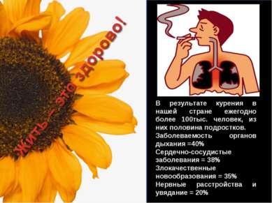 В результате курения в нашей стране ежегодно более 100тыс. человек, из них по...