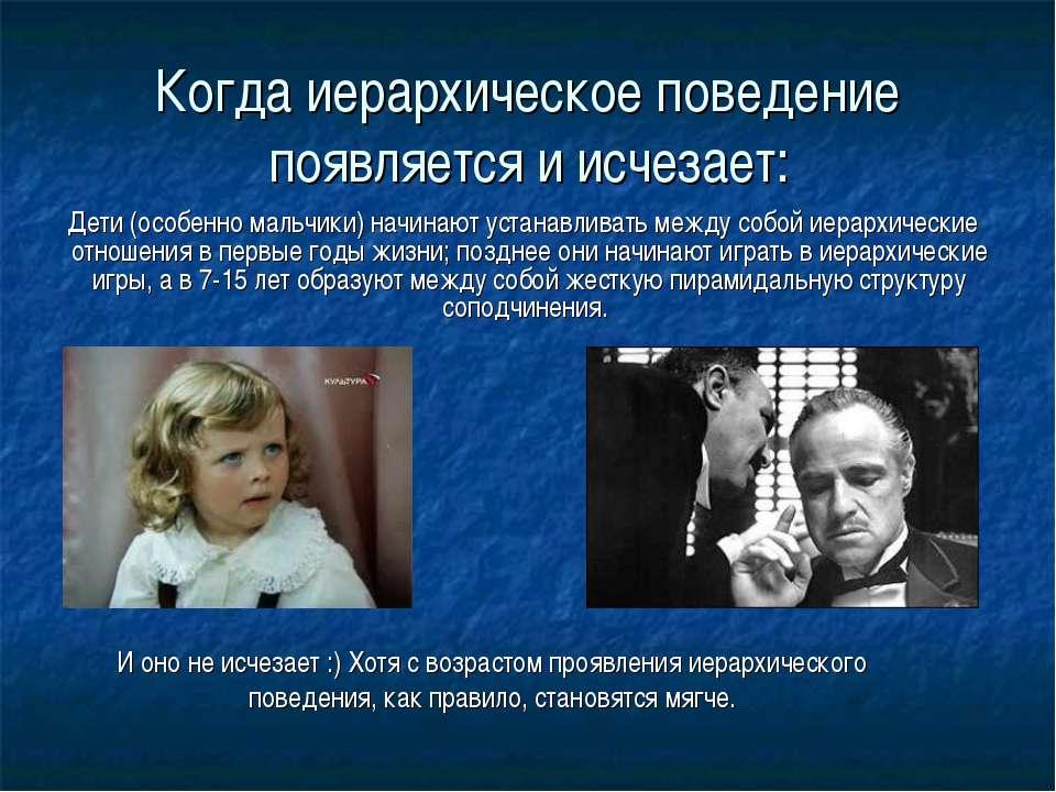 Когда иерархическое поведение появляется и исчезает: Дети (особенно мальчики)...