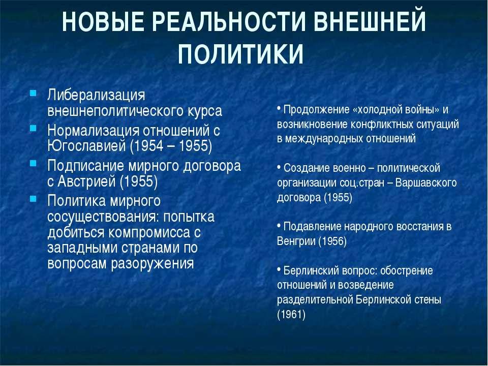 НОВЫЕ РЕАЛЬНОСТИ ВНЕШНЕЙ ПОЛИТИКИ Либерализация внешнеполитического курса Нор...