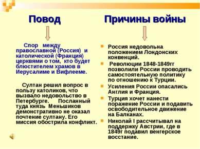 Повод Спор между православной (Россия) и католической (Франция) церквями о то...