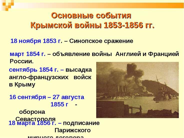 Основные события Крымской войны 1853-1856 гг. 18 ноября 1853 г. – Синопское с...