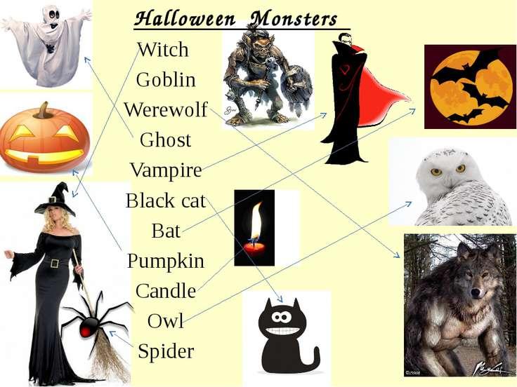 Halloween Monsters Witch Goblin Werewolf Ghost Vampire Black cat Bat Pumpkin ...
