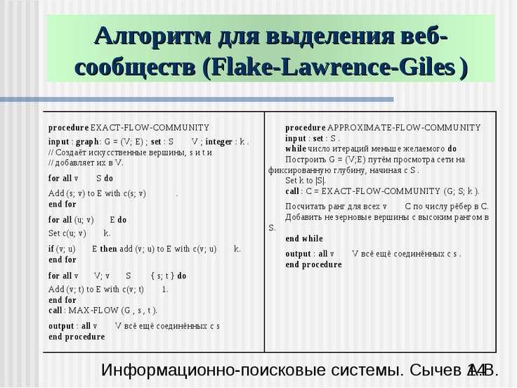 Алгоритм для выделения веб-сообществ (Flake-Lawrence-Giles ) Информационно-по...