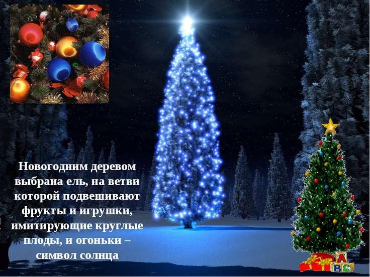 Новогодним деревом выбрана ель, на ветви которой подвешивают фрукты и игрушки...