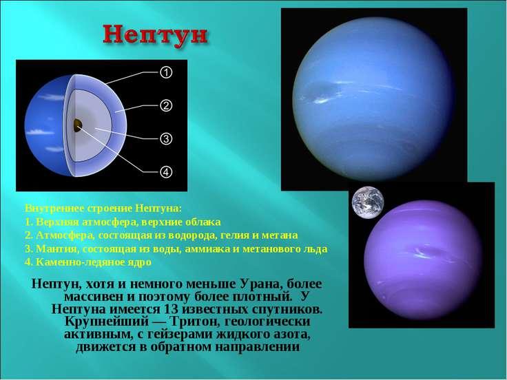 Нептун, хотя и немного меньше Урана, более массивен и поэтому более плотный. ...