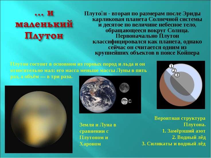 Плуто н - вторая по размерам после Эриды карликовая планета Солнечной системы...