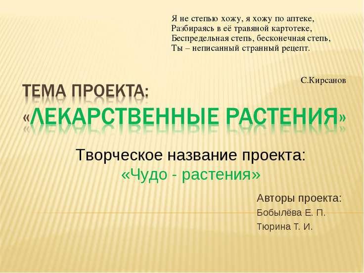 Авторы проекта: Бобылёва Е. П. Тюрина Т. И. Творческое название проекта: «Чуд...