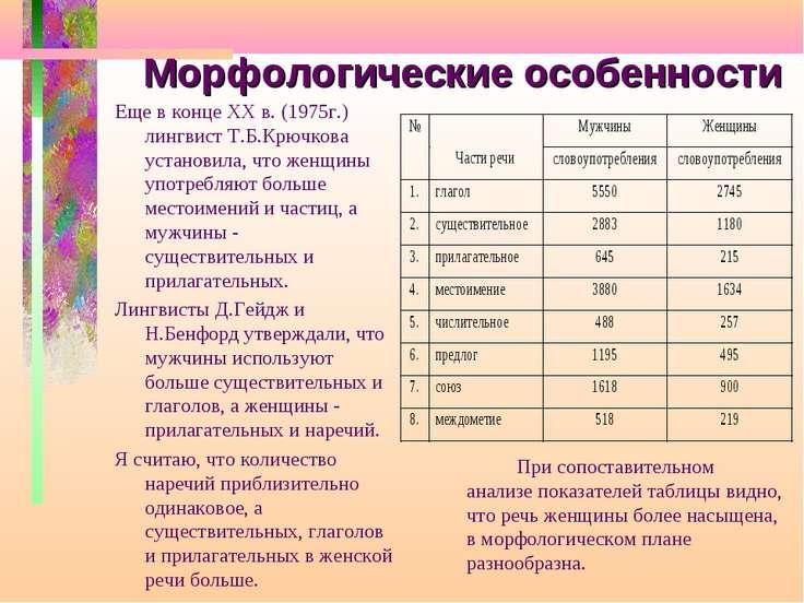 Морфологические особенности Еще в конце XX в. (1975г.) лингвист Т.Б.Крючкова ...