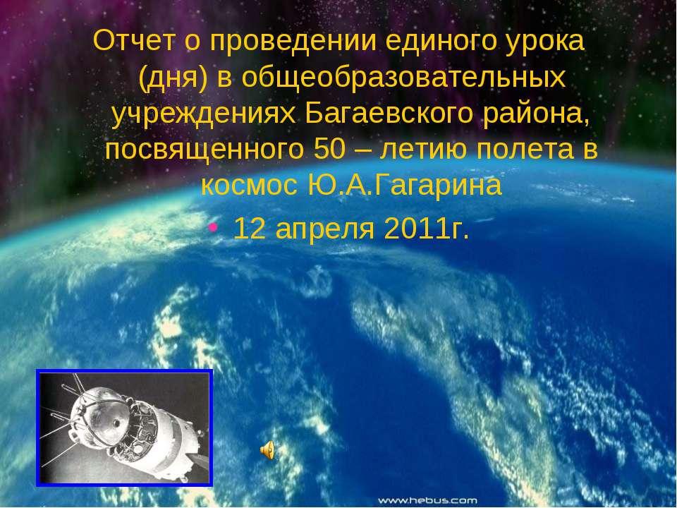 Отчет о проведении единого урока (дня) в общеобразовательных учреждениях Бага...