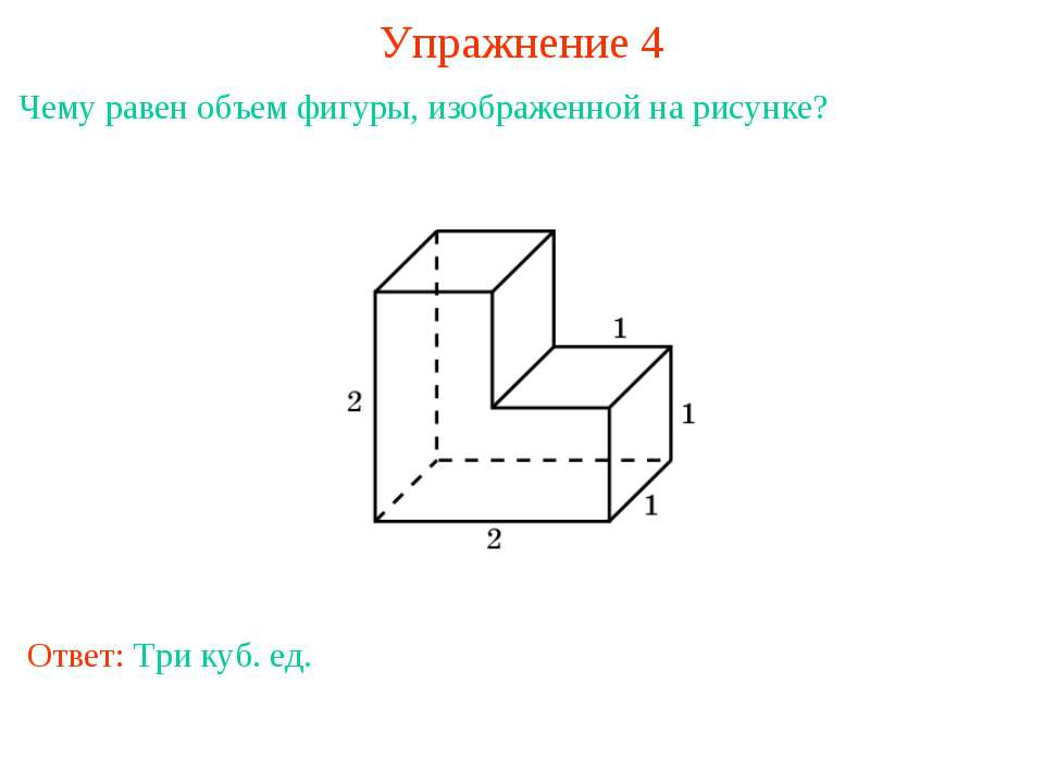 Упражнение 4 Чему равен объем фигуры, изображенной на рисунке? Ответ: Три куб...