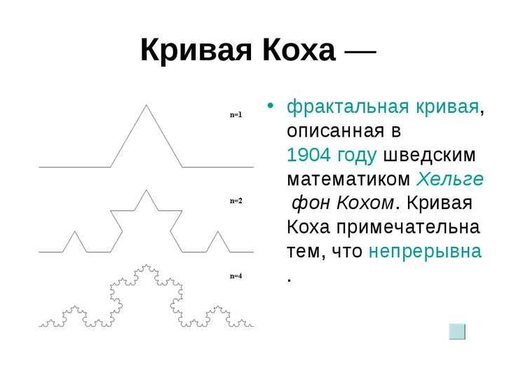 Кривая Коха— фрактальная кривая, описанная в 1904году шведским математиком ...