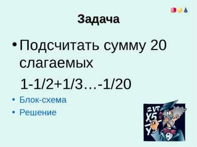 Задача Подсчитать сумму 20 слагаемых 1-1/2+1/3…-1/20 Блок-схема Решение