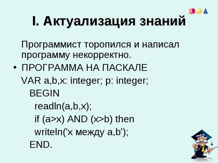 I. Актуализация знаний Программист торопился и написал программу некорректно....