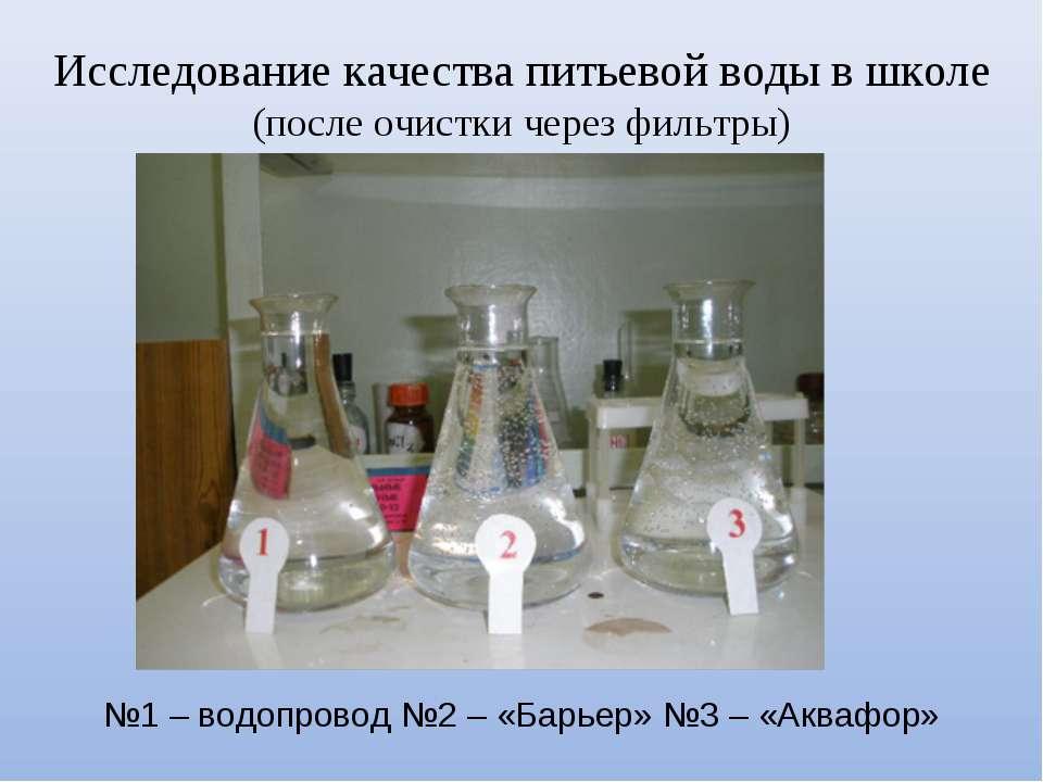 Исследование качества питьевой воды в школе (после очистки через фильтры) №1 ...